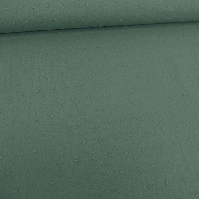 Tissu voile coton plumetis - eucalyptus x 10 cm