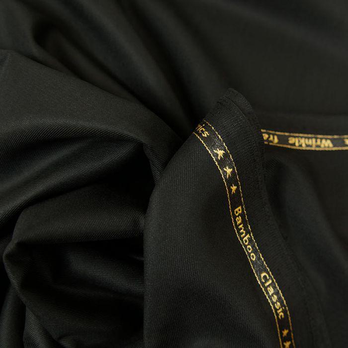 Tissu twill bambou polyester recyclé - noir x 10 cm