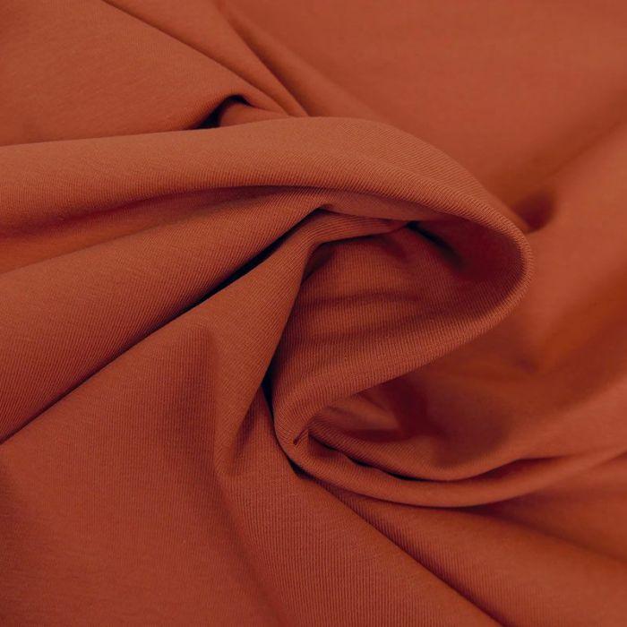Tissu jersey coton bio uni - terracotta x 10cm