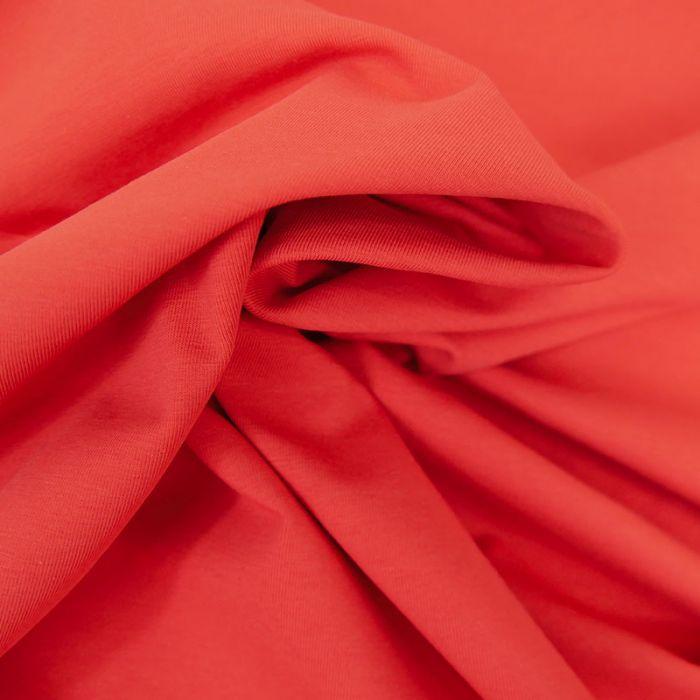 Tissu jersey coton bio uni - tomate x 10cm