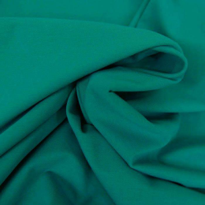 Tissu jersey coton bio uni - émeraude x 10cm
