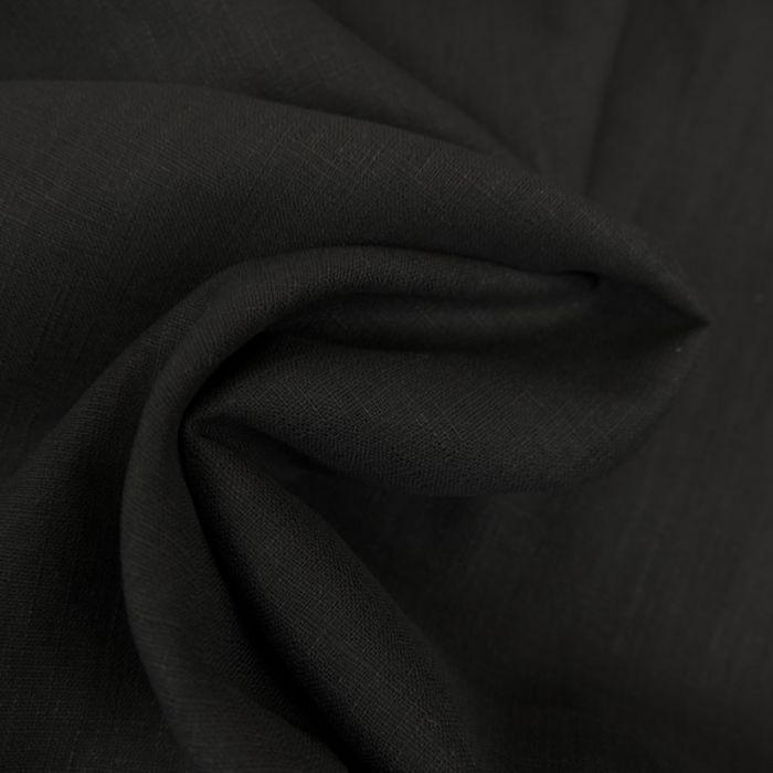 Tissu ramie Linen look - noir x 10cm