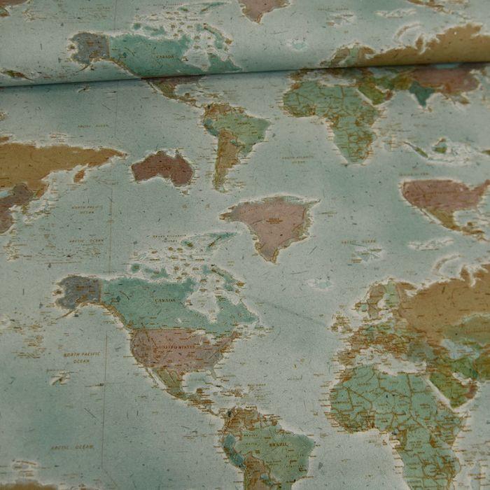 Tissu toile coton carte du monde x 10 cm