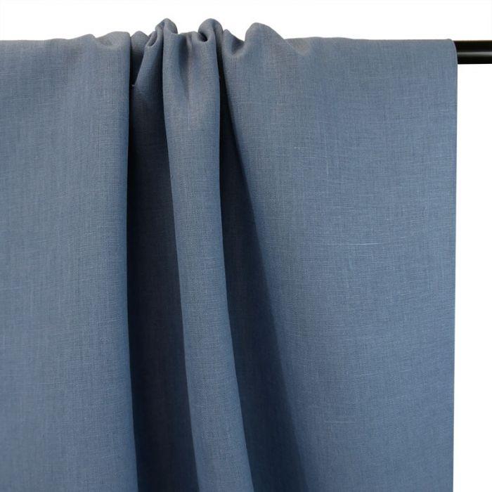 Tissu lin uni - bleu denim clair x 10cm