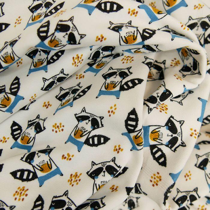 Tissu jersey bio sweat léger - Raton laveur x 10 cm
