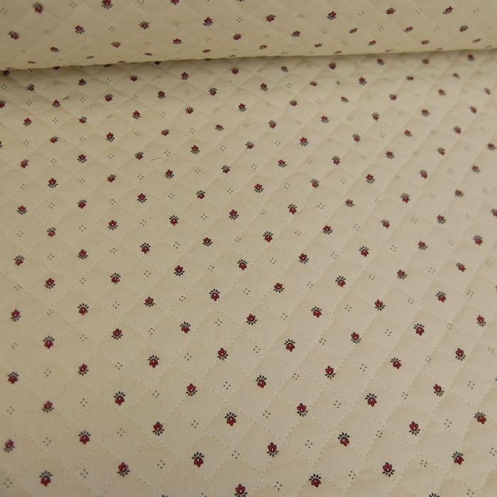 Tissu matelassé double face fleurs rouge - écru x 10 cm