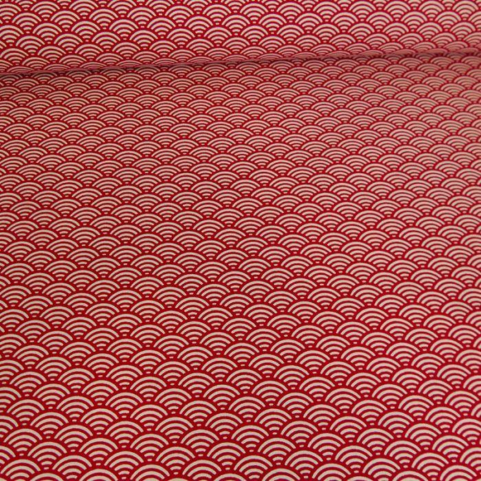Tissu cretonne sushi - rouge x 10 cm