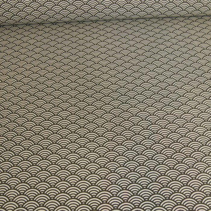 Tissu cretonne sushi - noir x 10 cm