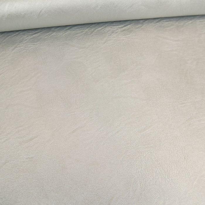 Tissu simili cuir souple - argent x 10 cm