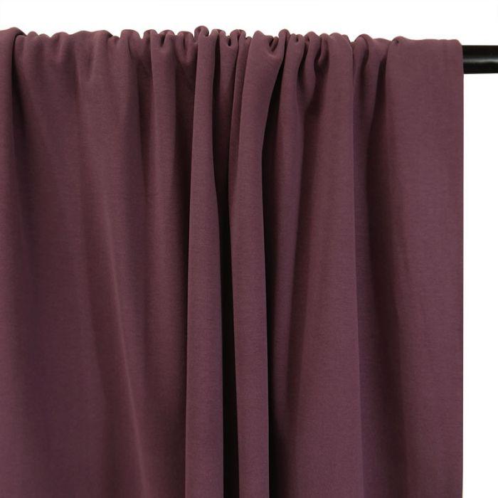 Tissu jersey sweat léger bio uni - aubergine x 10 cm
