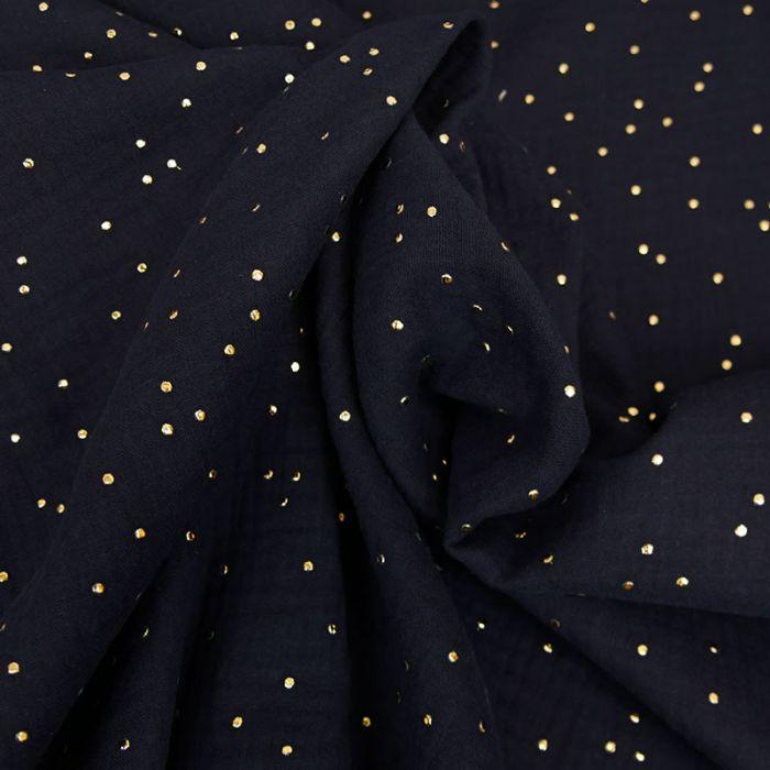 Tissu double gaze pois dorés - bleu nuit x 10cm