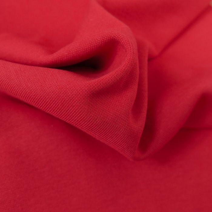 Tissu bord-côte bio uni tubulaire - rouge x 10 cm