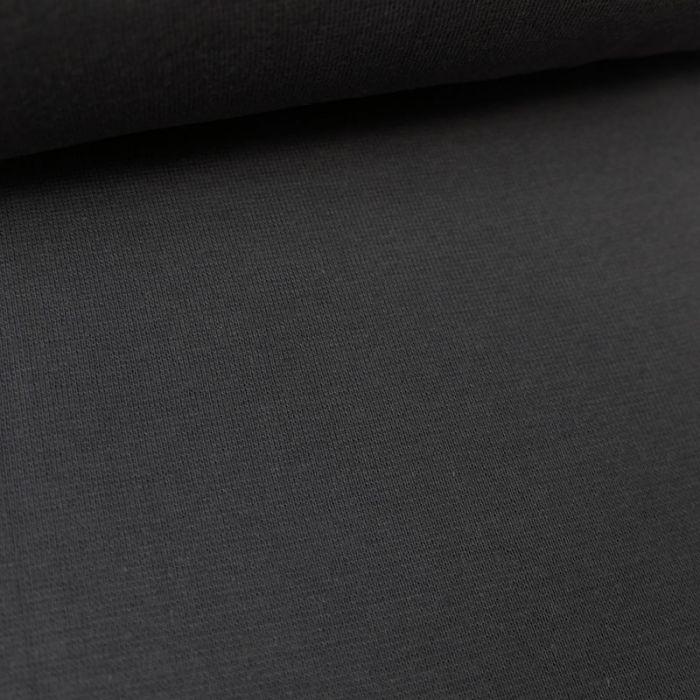 Tissu bord-côte bio uni tubulaire - gris foncé x 10 cm