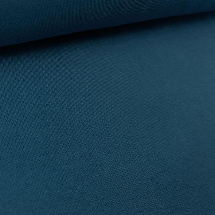 Tissu bord-côte bio uni tubulaire - bleu jeans x 10 cm