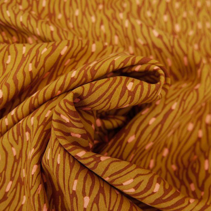 Coupon tissu viscose zebra ocre - 90 X 140 cm