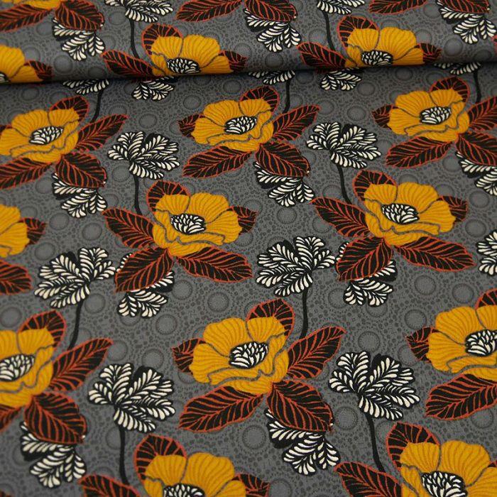 Tissu popeline coton pavots d'orient gris - Poppy x 10 cm