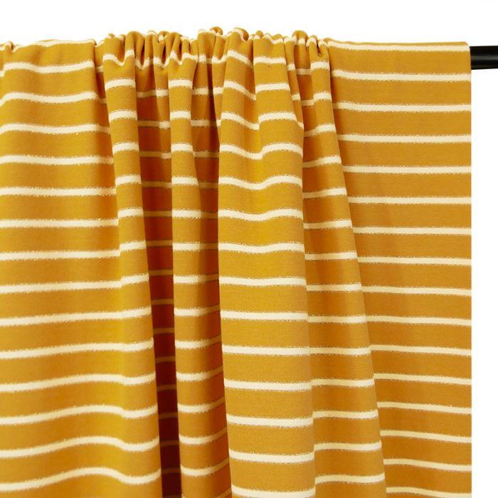 Tissu jersey marinière lurex - moutarde x 10 cm