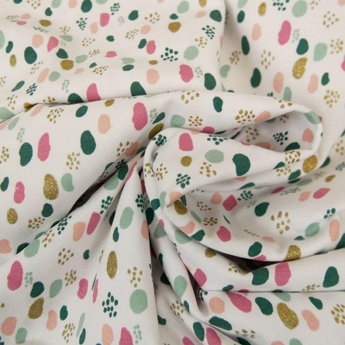 Tissu jersey fin pois glitter - blanc x 10 cm