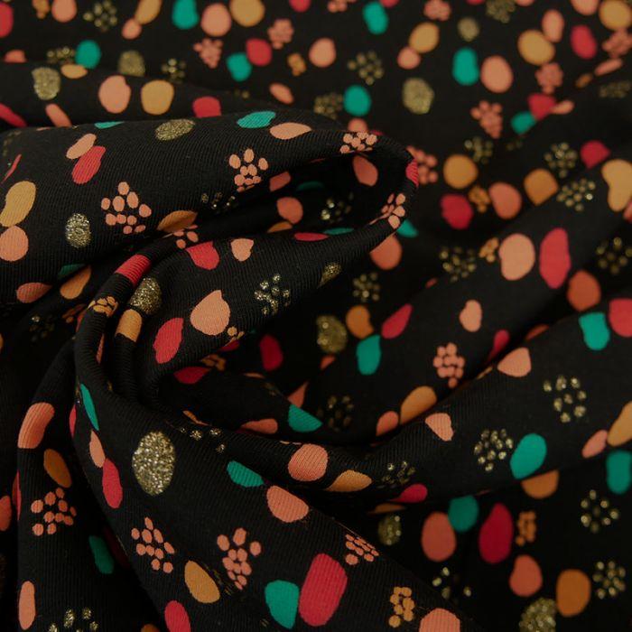 Tissu jersey fin pois glitter - noir x 10 cm