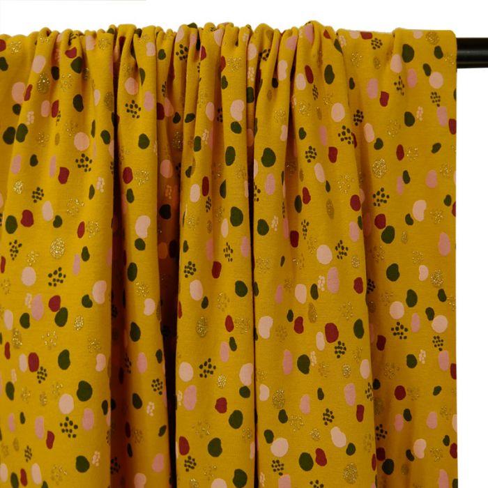Tissu jersey fin pois glitter - moutarde x 10 cm