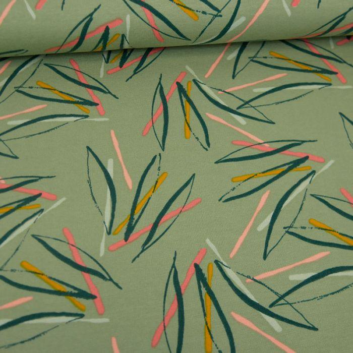 Tissu jersey sweat léger palmes - vert x 10 cm