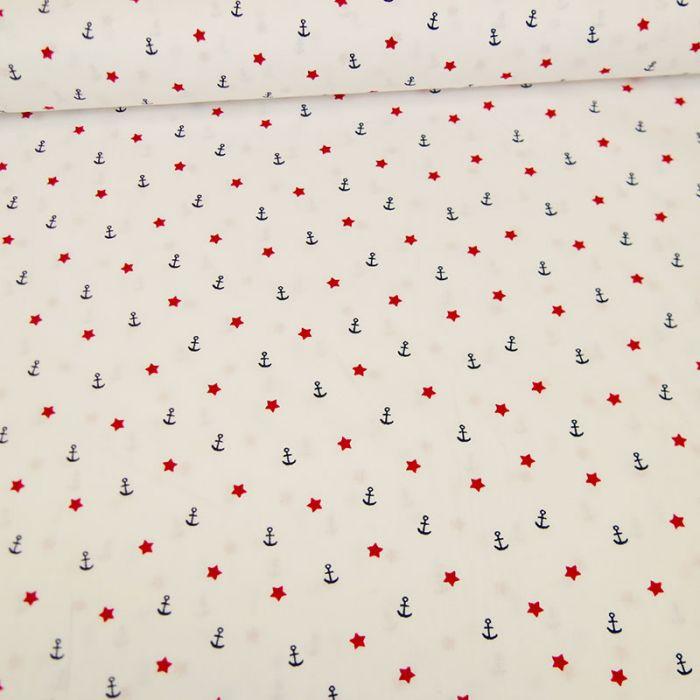 Tissu popeline coton ancres étoiles blanc - Poppy x 10 cm