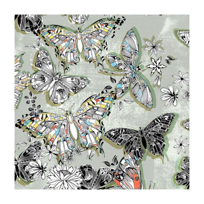 Tissu popeline bio papillons vert - C. Pauli x 10 cm