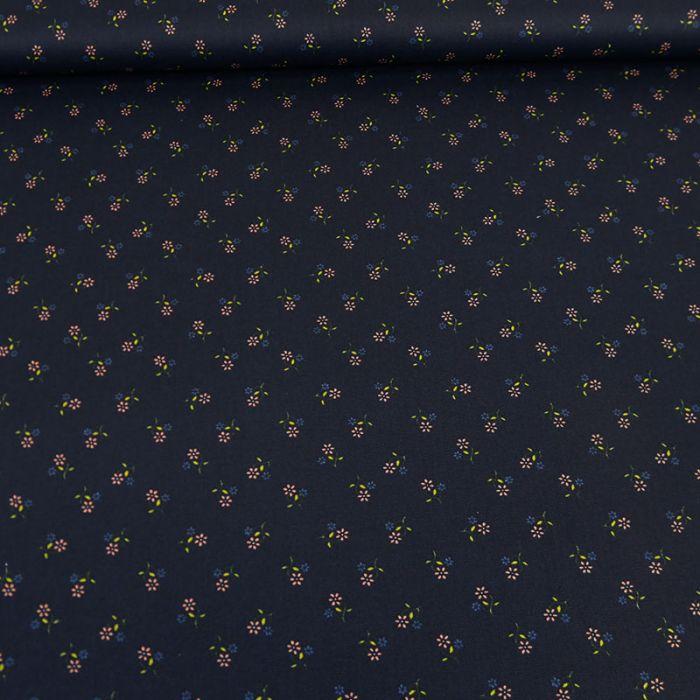 Tissu coton petites fleurs marine - Poppy x 10 cm