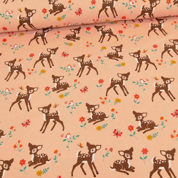 Tissu jersey bambi - rose saumon x 10 cm