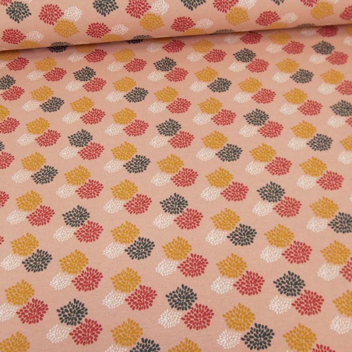 Tissu jersey feu d'artifice - rose x 10 cm