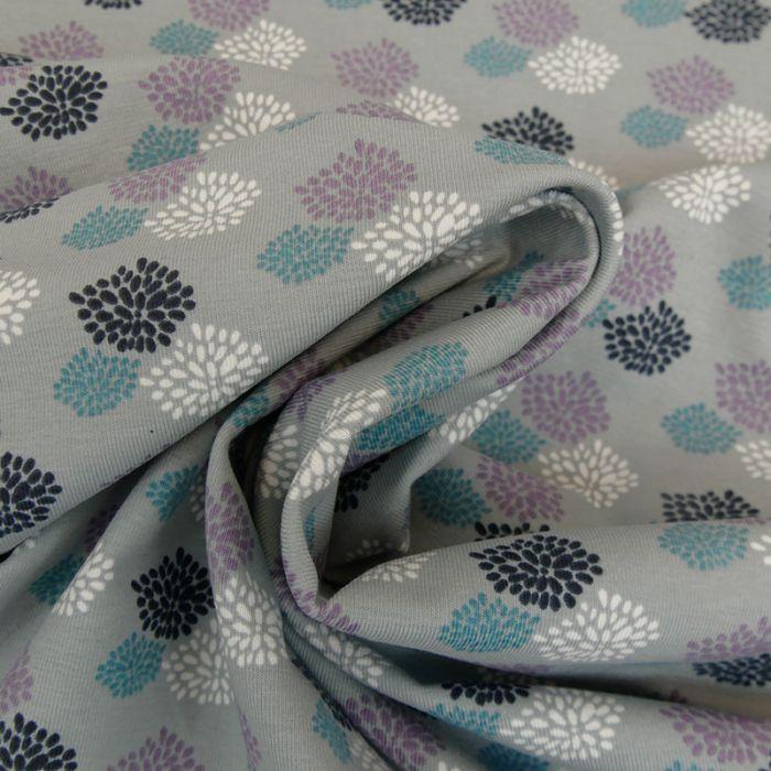 Tissu jersey feu d'artifice - gris x 10 cm