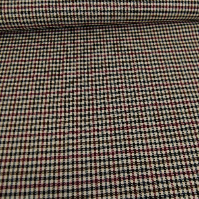 Tissu polyviscose pied de poule - bordeaux x 10 cm