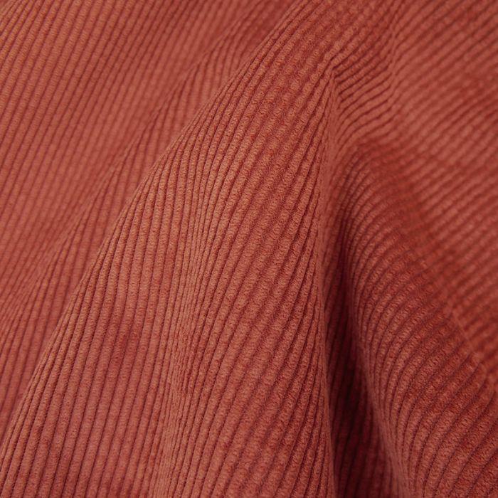 Tissu velours côtelé envers fourrure - rouille x 10 cm