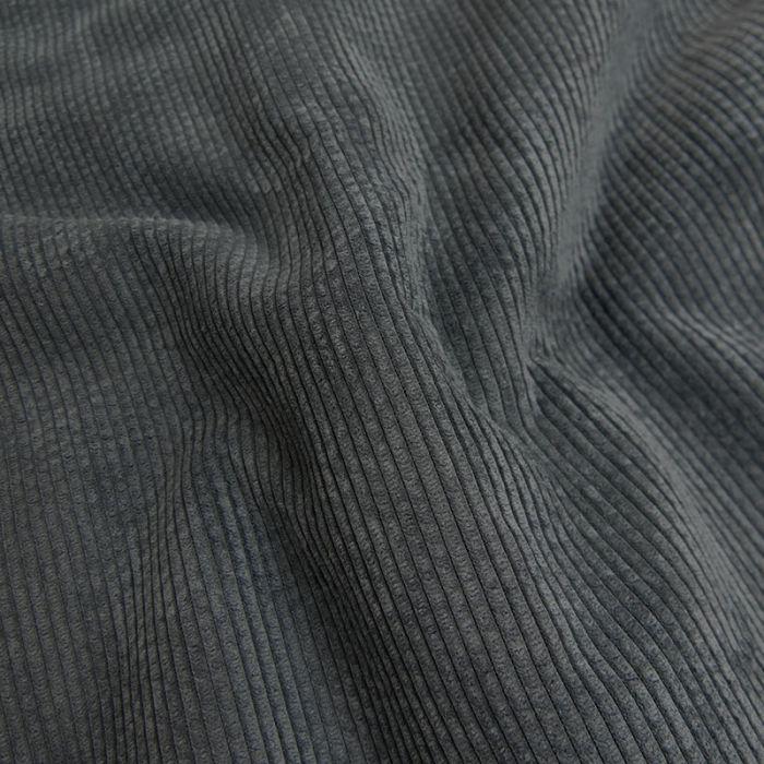 Tissu velours côtelé envers fourrure - ardoise  x 10 cm