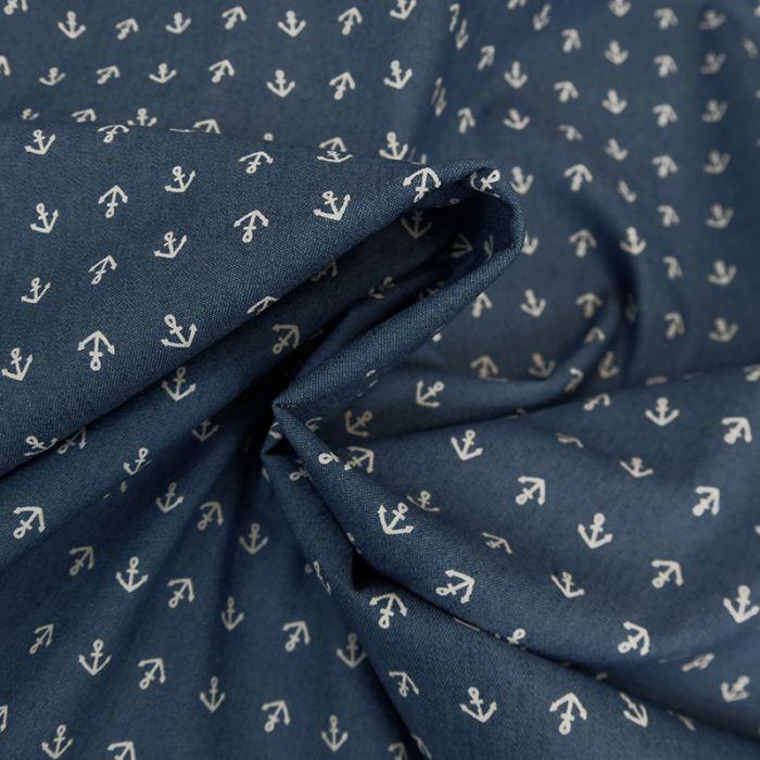 Tissu chambray encre marine - bleu x 10 cm