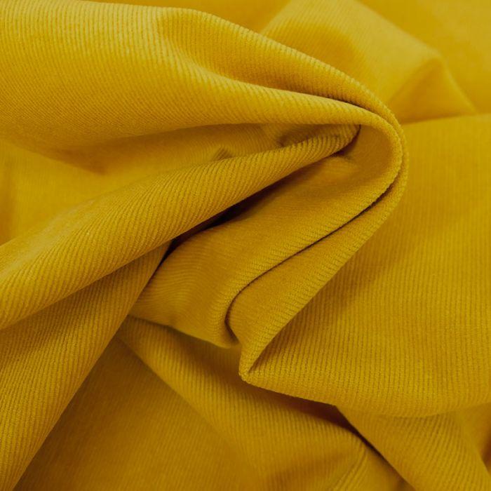 Tissu velours milleraies - jaune moutarde x 10 cm