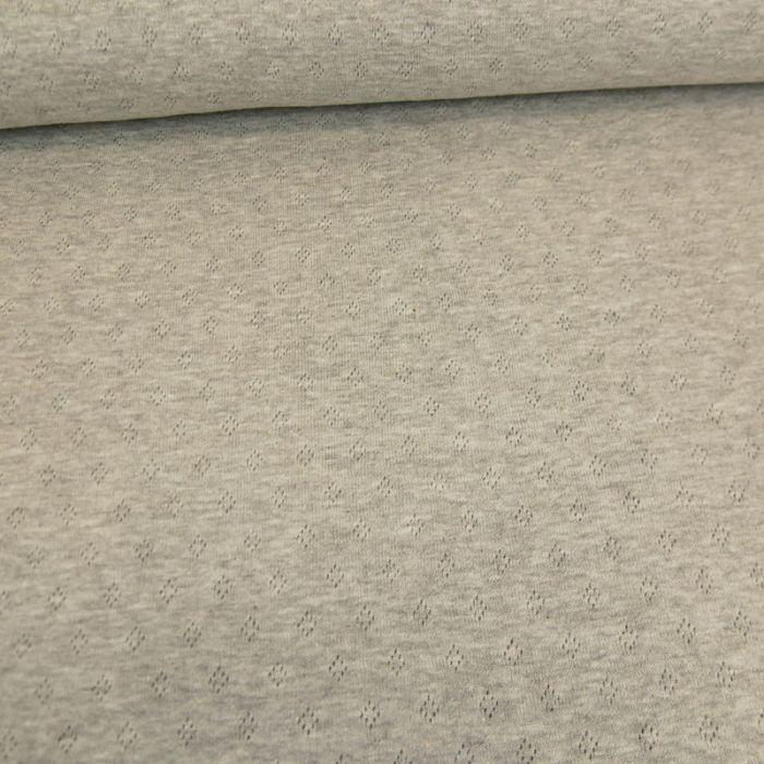 Tissu jersey ajouré - gris x 10 cm