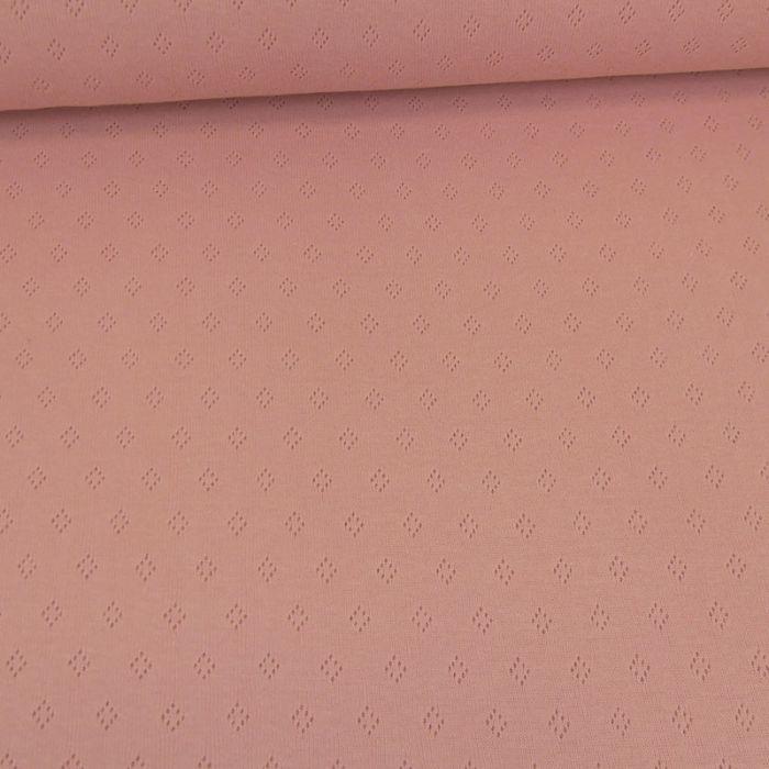 Tissu jersey ajouré - rose x 10 cm