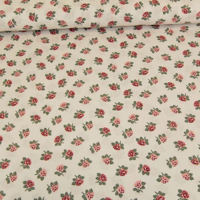 Tissu coton roses - Poppy x 10 cm