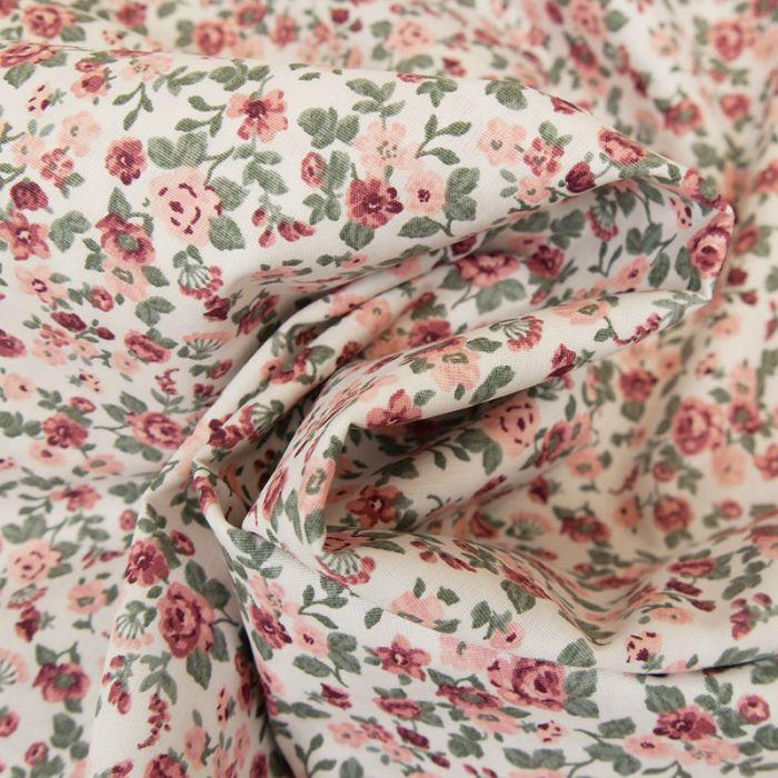 Tissu coton bouquets roses - Poppy x 10 cm