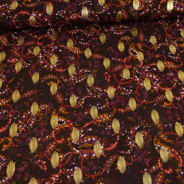 Tissu mousseline pois lurex - bordeaux x 10 cm