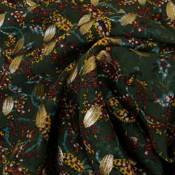 Tissu mousseline pois lurex - vert foncé x 10 cm