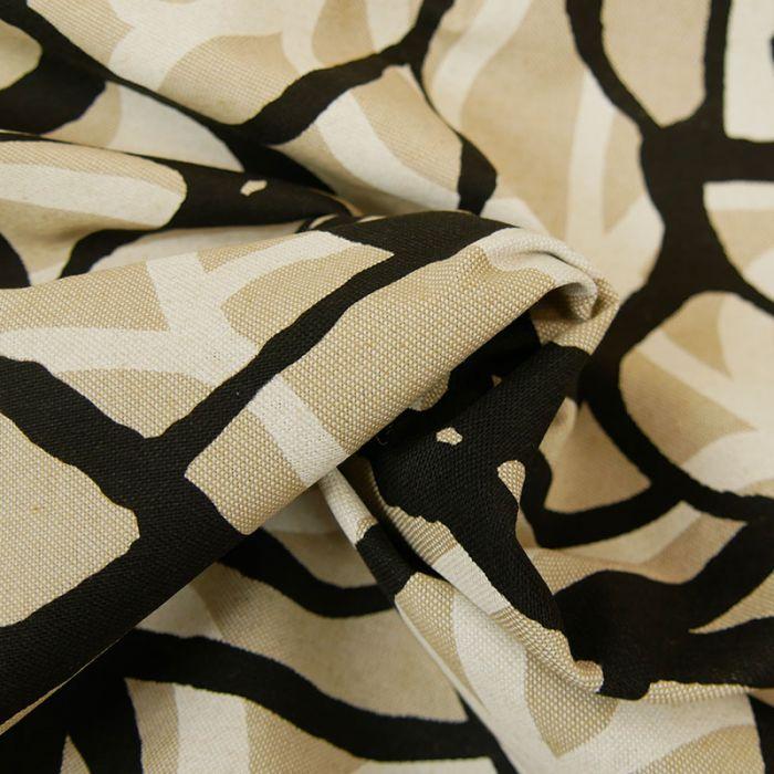 Tissu coton natté abstrait - beige x 10 cm