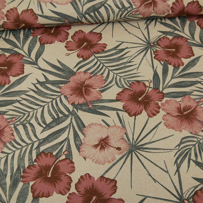 Tissu coton natté fleurs de Tahiti - beige x 10 cm
