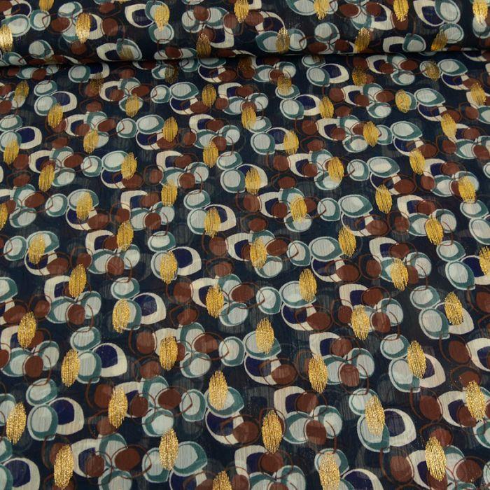 Tissu mousseline pois lurex - bleu foncé x 10 cm