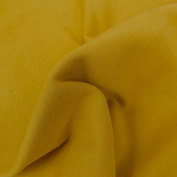 Tissu bord-côte bio uni tubulaire - moutarde x 10 cm