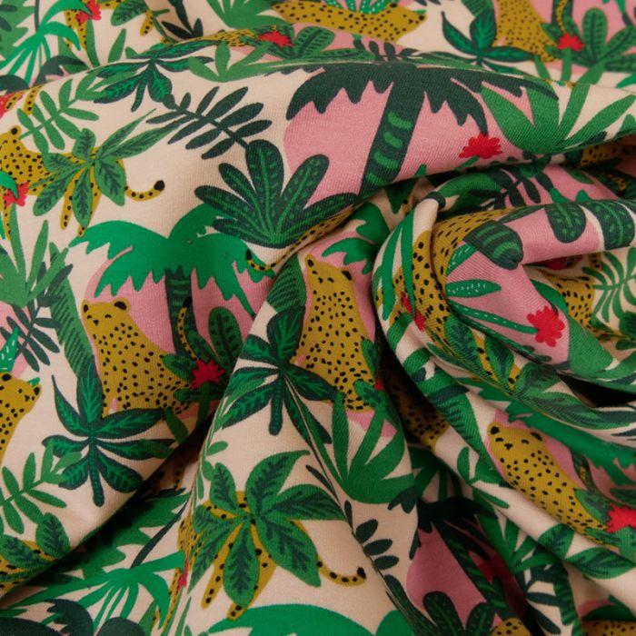 Tissu jersey bio sweat léger - jungle x 10 cm