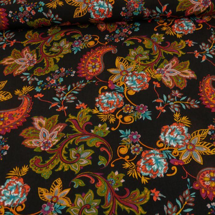 Tissu viscose motifs cachemire - noir x 10 cm