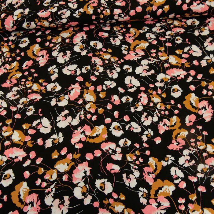 Tissu viscose fleurie - noir x 10 cm