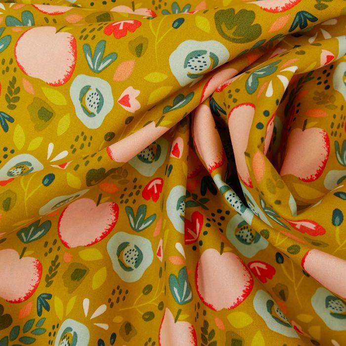 Tissu coton pommes fleurs moutarde - Poppy x 10 cm